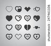 set of simple icons with heart... | Shutterstock .eps vector #247461106