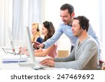 view of a manager training a... | Shutterstock . vector #247469692