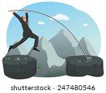 businessman is doing pole vault ...   Shutterstock .eps vector #247480546