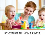 woman teaches kids handcraft at ... | Shutterstock . vector #247514245