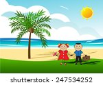 couple of people on a beach  a ... | Shutterstock .eps vector #247534252