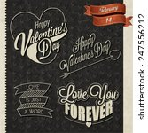 happy valentine's day lettering ... | Shutterstock .eps vector #247556212