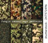 Set Of 8 Jungle Camouflage...