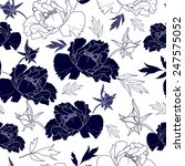 seamless pattern with flowers   Shutterstock .eps vector #247575052