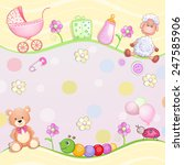 baby shower card with toys.  | Shutterstock .eps vector #247585906