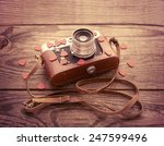 retro camera with red hearts on ... | Shutterstock . vector #247599496