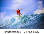 surfer on amazing blue wave ... | Shutterstock . vector #247651132
