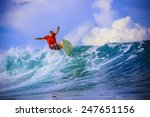 surfer on amazing blue wave ... | Shutterstock . vector #247651156