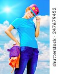 young stylish girl posing over... | Shutterstock . vector #247679452
