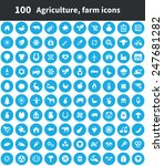 100 agriculture  farm icons ... | Shutterstock . vector #247681282