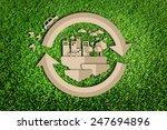 paper cut of eco on green grass | Shutterstock . vector #247694896