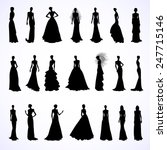 set of female silhouettes in...