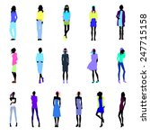 set of female silhouettes in... | Shutterstock .eps vector #247715158