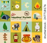 square woodland animal camping... | Shutterstock .eps vector #247718176