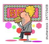 drunk man sit with mugs of beer ... | Shutterstock .eps vector #247725658