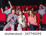 young friends watching a film... | Shutterstock . vector #247740295