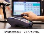 hand swiping credit card in... | Shutterstock . vector #247758982