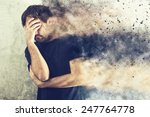 depressed man with problems... | Shutterstock . vector #247764778