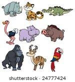 nine cute wildlife cartoon... | Shutterstock .eps vector #24777424