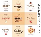 set of 9 bakery labels  warm... | Shutterstock .eps vector #247779055