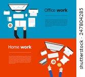 flat style design computer work ... | Shutterstock .eps vector #247804285