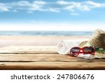 white towel on desk and red...   Shutterstock . vector #247806676