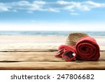 Red Towel Glasses And Hat