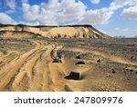 Traces of a vehicle in desert, Egypt, Africa - stock photo
