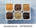 spices in small ceramic cups on ... | Shutterstock . vector #247833202