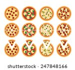 Set Of Flat Pizza Icons...