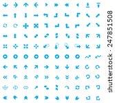 100 arrows icons  blue on white ...