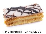 Mille Feuille or Napolean pastry in front of white background