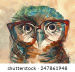 Wise Owl With Big Eyes In...