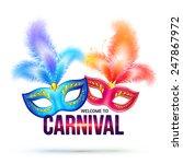 bright vector carnival masks...   Shutterstock .eps vector #247867972