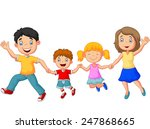 cartoon happy family waving... | Shutterstock .eps vector #247868665