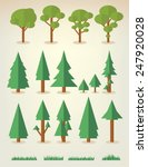 set of flat trees and grass... | Shutterstock .eps vector #247920028