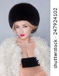 winter woman in luxury fur coat.... | Shutterstock . vector #247924102