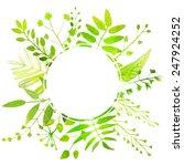 leaves circle frame. nature...   Shutterstock .eps vector #247924252