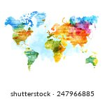 world map watercolor  isolated... | Shutterstock .eps vector #247966885
