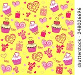 seamless valentine pattern with ... | Shutterstock . vector #248026696