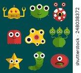 set of nine vector monsters ...   Shutterstock .eps vector #248038372