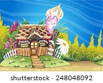fantasy marzipan sweets house... | Shutterstock .eps vector #248048092