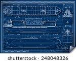 blue print tanker cargo ship.... | Shutterstock .eps vector #248048326