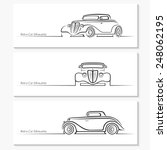 Set Of Vintage Car Silhouettes. ...