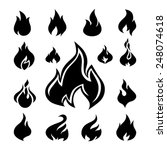 fire flames  set icons. vector... | Shutterstock .eps vector #248074618