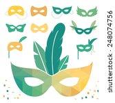 set of isolated carnival masks  ... | Shutterstock .eps vector #248074756