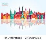 france famous landmarks... | Shutterstock .eps vector #248084386
