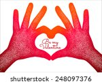 hands in the form of heart.... | Shutterstock .eps vector #248097376