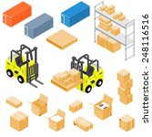 forklift truck with containers... | Shutterstock .eps vector #248116516