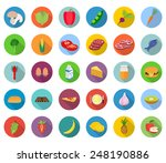 set of food icons in flat... | Shutterstock .eps vector #248190886